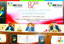 CMD J&K Bank RK Chhibber during 82nd Annual General Meeting at Srinagar.