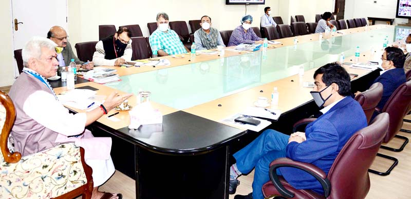 Lt Governor Manoj Sinha chairing a meeting on Tuesday.