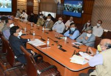 CS BVR Subrahmanyam chairing a meeting in Srinagar on Wednesday.