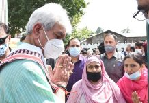 Lt Governor Manoj Sinha during visit to Khanmoh block in Srinagar on Wednesday.