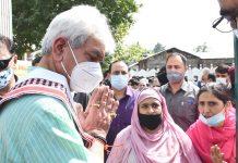 Lt Governor Manoj Sinha during visit to Khanmoh block in Srinagar on Wednesday.