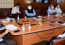 Chief Secretary BVR Subrahmanyam chairing a meeting in Srinagar on Thursday.