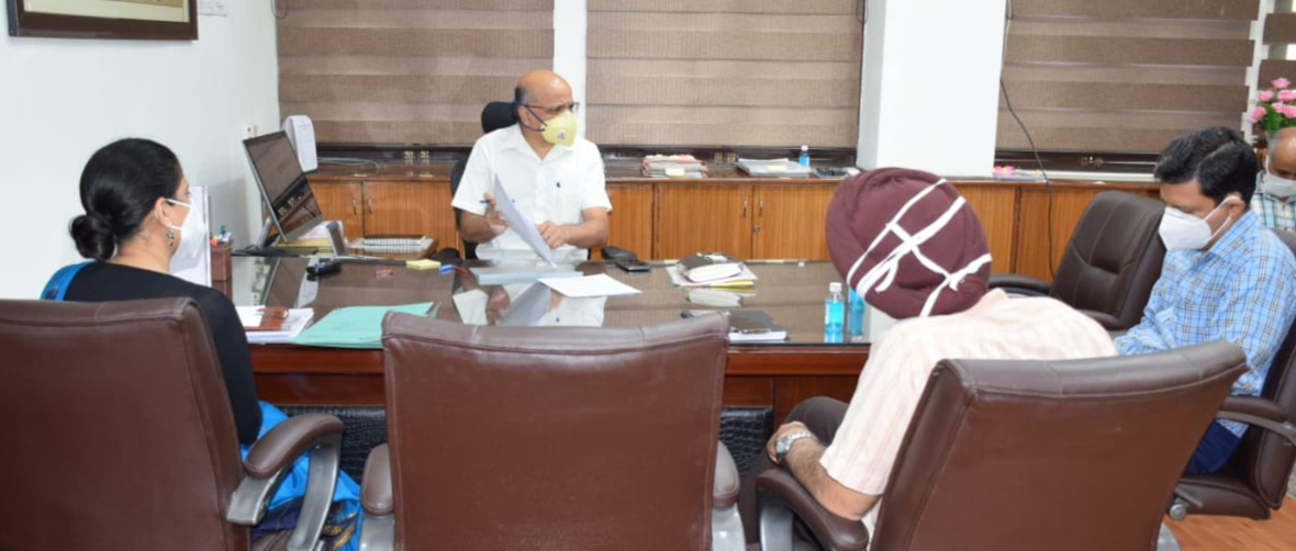 Chief Secretary BVR Subrahmanyam chairing a meeting on Tuesday.
