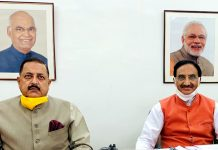 Union Ministers Ramesh Pokhriyal and Dr Jitendra Singh inaugurating, online, new structures in Central University Jammu, named after Dr. Syama Prasad Mookerjee, Pandit Prem Nath Dogra and Brig Rajendra Singh, on Tuesday.