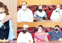 Advisor Baseer Khan interacting with a delegation in Jammu on Friday.