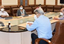 Advisor R R Bhatnagar chairing a meeting on Saturday.