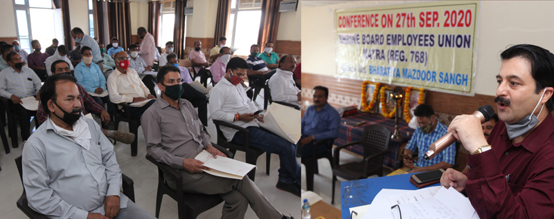 A leader of Shri Mata Vaishno Devi Shrine Board Employees Union addressing the annual conference of the Union. -Excelsior/Rakesh