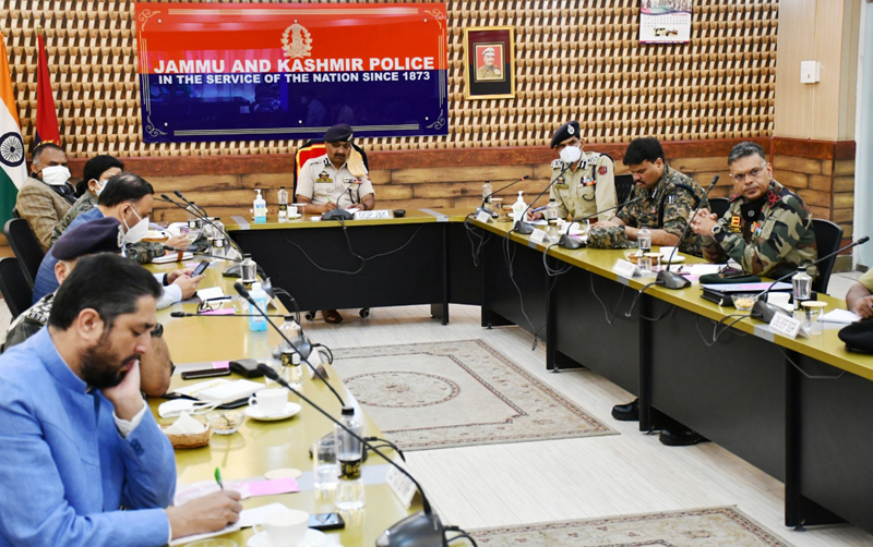 DGP Dilbag Singh chairing a meeting on Saturday.