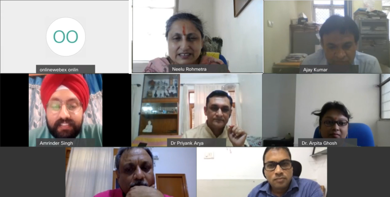 Professor (Dr) Neelu Rohmetra, Director IIM Sirmaur and other panelists during a webinar.