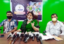 Former Minister and BJP leader Priya Sethi talking to reporters at Jammu on Saturday. — Excelsior/Rakesh