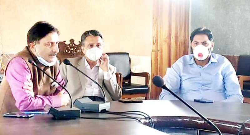 General secretary of Apni Party, Rafi Ahmad Mir, addressing a party meeting at Khanabal in Srinagar.