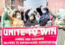 Helpers and Supervisors of ICDS staging protest in Srinagar. -Excelsior/Shakeel