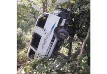 Ill-fated vehicle after accident near Darmari in District Reasi. Excelsior/Mengi