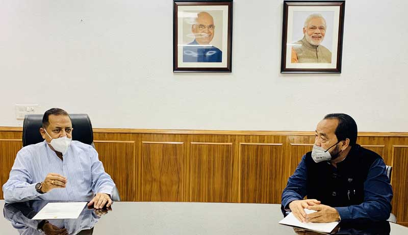 Deputy Chief Minister of Nagaland,Y. Patton calling on Union Minister Dr Jitendra Singh, at New Delhi on Tuesday.