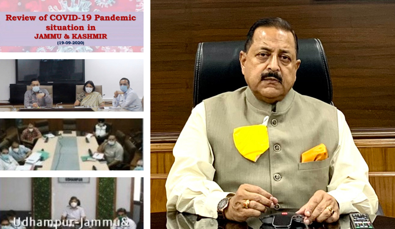 Union Minister Dr Jitendra Singh reviewing the COVID situation in Jammu with the visiting Central team and representatives of the UT Government, on Saturday.
