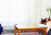 Lt Governor Manoj Sinha meeting L D Jha, Chairman JERC on Wednesday.