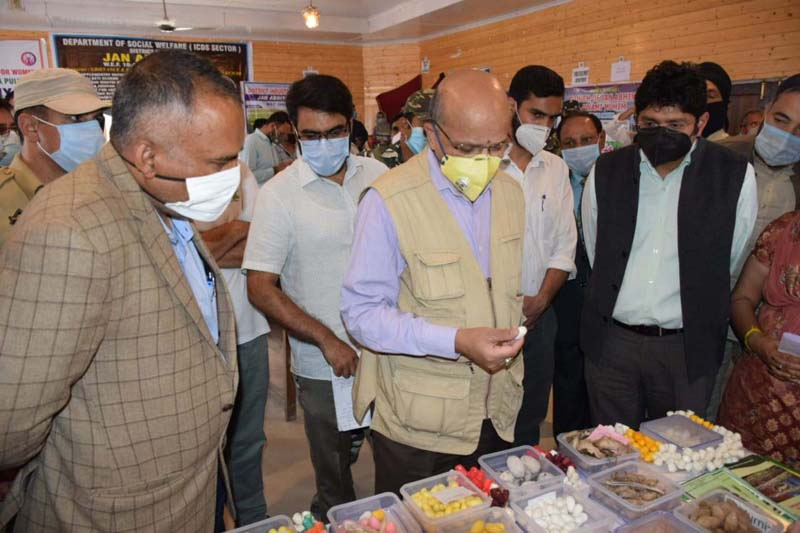 CS BVR Subrahmanyam inspecting a stall during Block Divas at Pampore on Wednesday.
