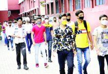 NDA aspirants entering an examination centre in Jammu. —Excelsior/Rakesh