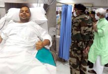 Lt Governor enquiring about health of injured CRPF officer.