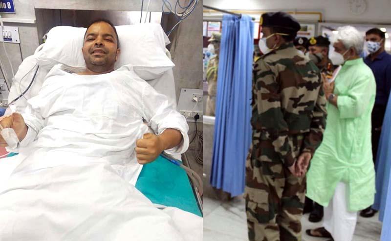 Lt Governor enquiring about health of injured CRPF officer.