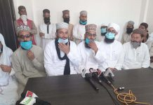 Leaders of Jamaat-e-Ahl-e-Sunnat interacting with media persons at Jammu on Thursday.