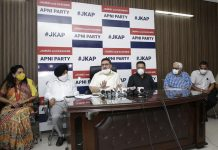 Altaf Bukhari, flanked by Apni Party leaders, addressing a press conference at Jammu on Saturday. -Excelsior/Rakesh