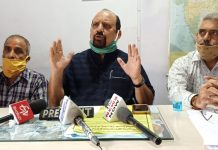Senior trade union leader, Som Nath addressing a press conference at Udhampur.