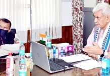 Lt Governor, Manoj Sinha chairing a meeting, through virtual mode on restoring of Dal lake with the Committee of Experts (CoE) on Tuesday.