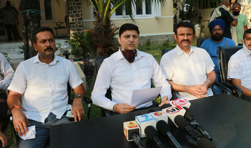 SSP ANTF Vinay Sharma interacting with media persons at Jammu on Saturday.