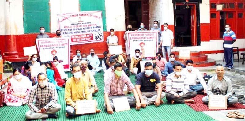Activists of KPSS sitting on fast unto-death at Srinagar on Sunday.