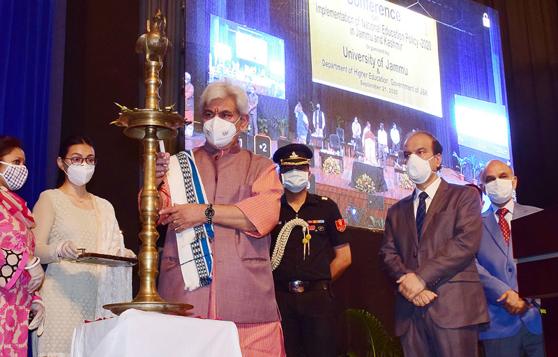 Lt Governor inaugurating second brainstorming conference on implementation of NEP at Jammu University on Monday.
