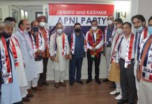 Apni Party leaders during a party function in Srinagar.