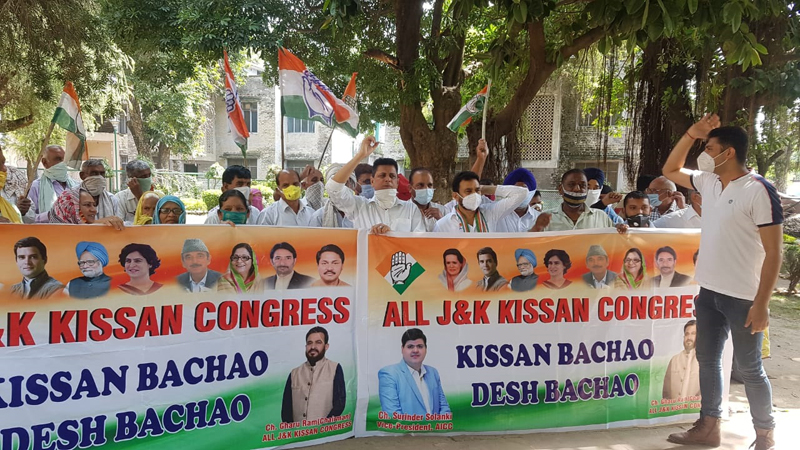 All J&K Kissan Congress activists during a protest demonstration at R.S Pura on Monday.