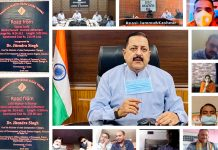 Union Minister Dr Jitendra Singh addressing party workers, Sarpanches and BDC Chairmen from Doda, Reasi, Ramban and Kishtwar districts, on Wednesday.