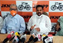 Harsh Dev Singh, Chairman JKNPP addressing a press conference at Jammu on Friday.