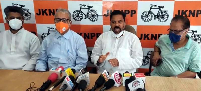 Harsh Dev Singh, Chairman JKNPP addressing a press conference at Jammu on Friday.