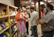 J&K BJP president, Ravinder Raina after inaugurating store 'GROHUB' at Gandhi Nagar. -Excelsior/Rakesh