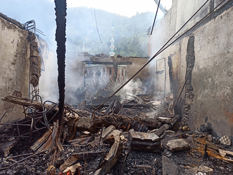 A view of property damaged in fire at Khari in district Ramban. -Excelsior/Parvaiz