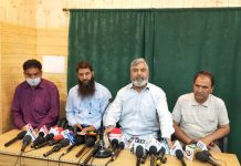 All J&K PHE (ITI) Trained Workers Association addressing press conference on Wednesday. -Excelsior/Shakeel