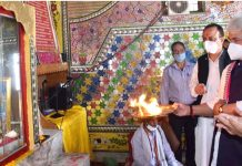 Lt Governor paying obeisance at Mattan temple on Saturday.