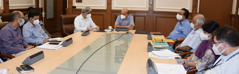 Chief Secretary chairing a meeting at Jammu on Monday.