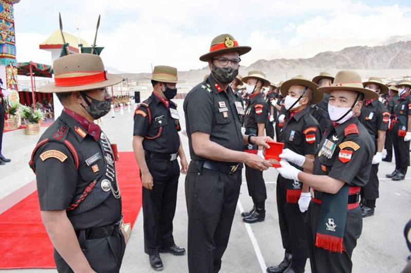 Young soldiers and officers during attestation parade in Leh.