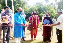 Ex-Minister and BJP general secretary, Dr D.K Manyal laying foundation stone of Community Hall at Purmandal on Thursday. -Excelsior/Badyal