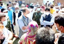 Principal Secretary, Power Development & Information Rohit Kansal during Jan Abhiyan at Pulwama on Wednesday.