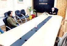 LG Ladakh RK Mathur in a meeting with a delegation at Raj Niwas. -Excelsior/Basharat