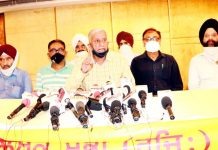 Punjabi Bhasha Sangarsh Committee members addressing a press conference at Jammu on Wednesday.