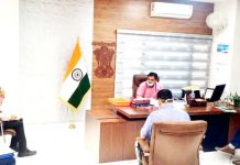 DC Udhampur Dr Piyush Singla chairing a meeting on Tuesday.