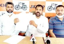 Harsh Dev Singh, Chairman JKNPP interacting with media persons at Jammu on Wednesday.