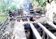 Residential house damaged in fire. -Excelsior/Tilak Raj