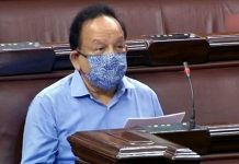 Union Minister Harsh Vardhan speaks in the Rajya Sabha on Tuesday.